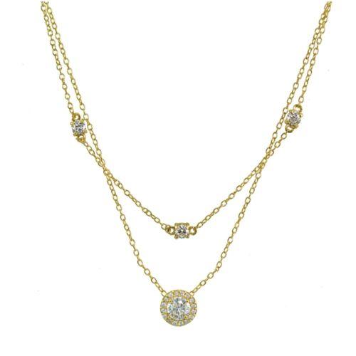 Rond Halo Zircon Cubique multicouche collier tour de cou en or plaqué argent 925