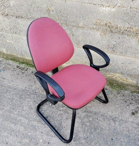 Cantilevered Meeting Room Chair Pink Fabric Metal Base #193W