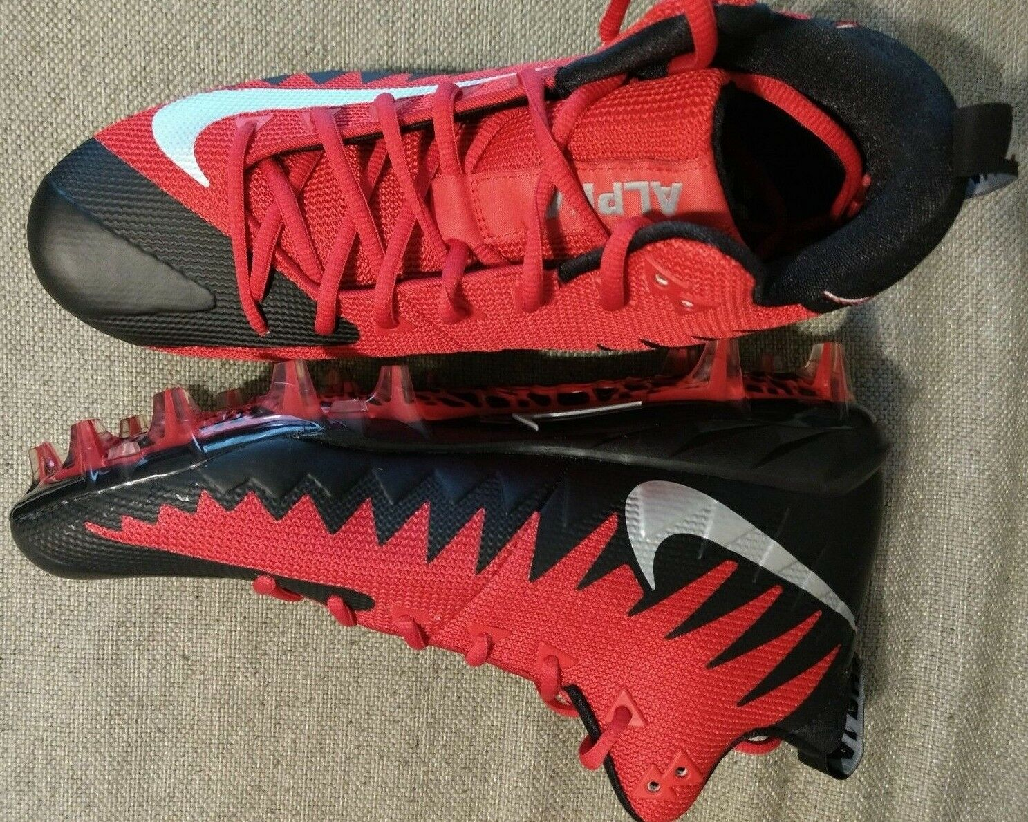 Nike Alpha Menace Pro Mid Football Cleats Red Black Silver