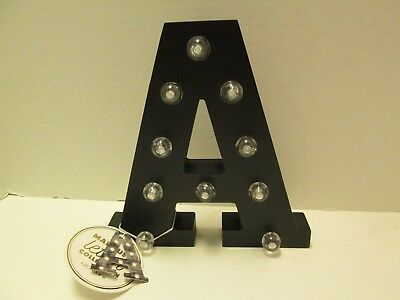 Initial A Led Lighted Sign Marquee Letter Collection Black Wood