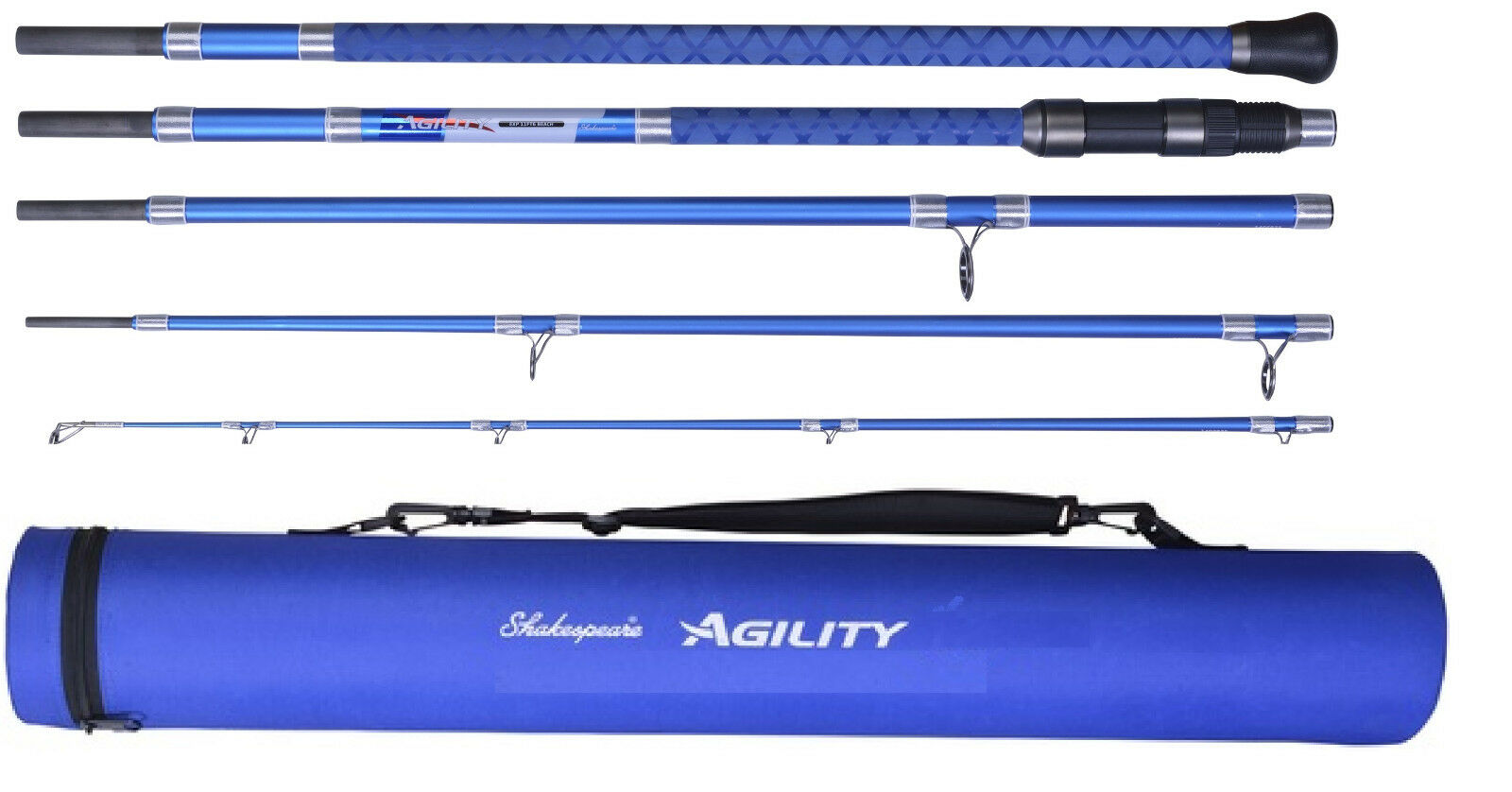 Shakespeare Agility 2 EXP 5 Piece Travel Beach Rod 11ft 6  With Travel Case
