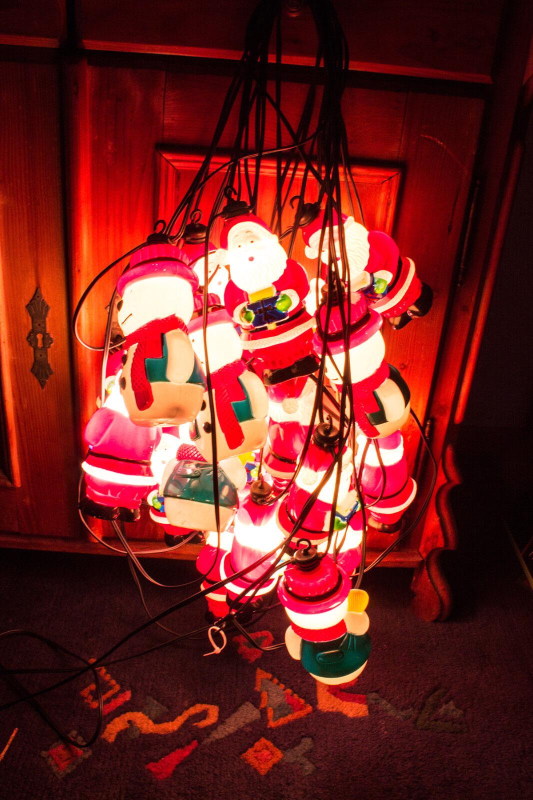 2X Weihnachts Lichterkette außen, Rarität,Nikolaus, Schneemänner