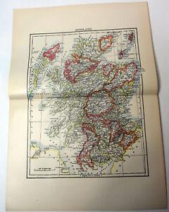 1890s-Antique-ORIGINAL-15-034-Map-Scotland-Europe