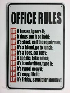 Office-Rules-Metal-Novelty-12x8-Tin-Sign