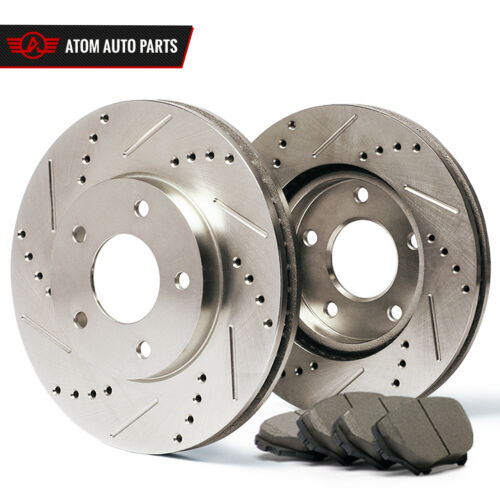 Slotted Drilled 07 Fit Chrysler Town/&Country w//Rear Drum Rotors Ceramic Pads F
