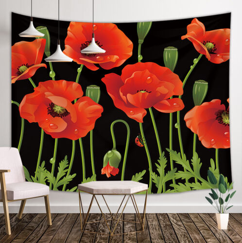 Poppy Flowers Home Art Paint Tapestry Wall Hanging Bedroom Living Room Blanket