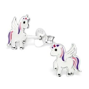 Girls-Childrens-925-Sterling-Silver-Purple-amp-Pink-Unicorn-Stud-Earrings-Boxed