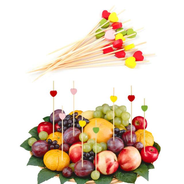 100pcs Heart Food Picks Dessert Fruit Sticks Salad Fork Cake Wedding Party Decor