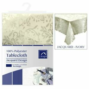 54X72-Inches-Rectangle-Polyester-Table-Cover-Ivory-Jacquard-Design