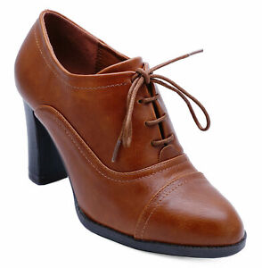 WOMENS-TAN-BROWN-LACE-UP-BROGUE-ANKLE-BOOTS-SMART-WORK-COMFY-SHOES-SIZE-3-8