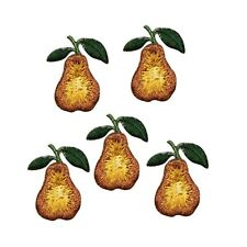 ID 1164 Lot of 5 Pears Fruit Embroidered Iron On Applique Patch