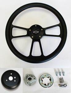 Chevelle-Nova-Camaro-Impala-14-034-Steering-Wheel-Black-on-Black-Bowtie-Center-cap