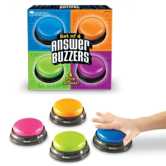 Learning Resources - Classic Answer Buzzers, Classroom Set of 4 Game show style