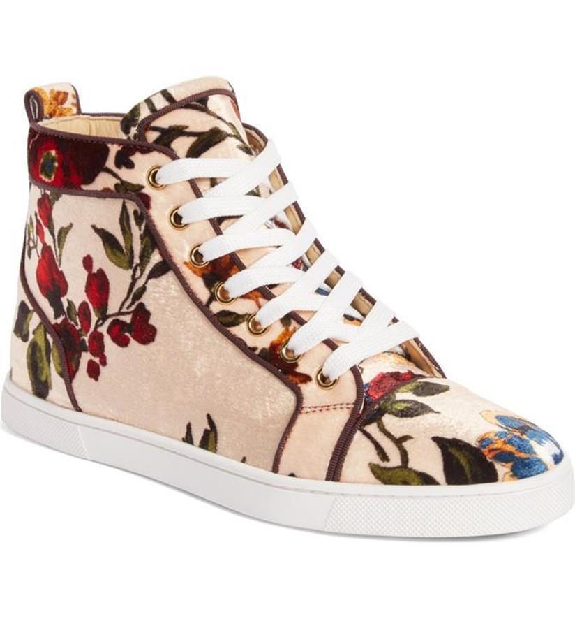 Christian Louboutin  BIP BIP Orlato Floral Velvet Hi High Top scarpe da ginnastica scarpe  995  sconto