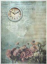 Carta di riso per Decoupage Decopatch Scrapbook Craft sheet Vintage Fiore & CLOCK