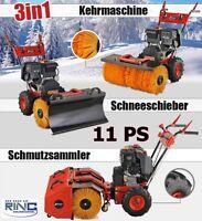 11 PS Benzin Kehrmaschine Schneefräse  Elektrostarter Schneeschieber Besen Motor