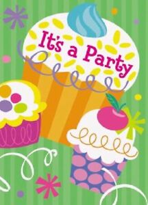 Details About 8 X CUPCAKE BIRTHDAY PARTY INVITATIONS GREEN INVITES ENVELOPES CELEBRATION