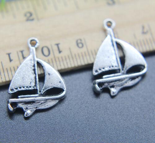 Wholesale Retro Sailboat Alloy Charms Pendant Jewelry DIY 24*17mm