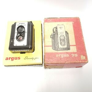 Vintage Argus Lumar 75 Original 75mm Camera TLR with Rare New in Box Made in USA