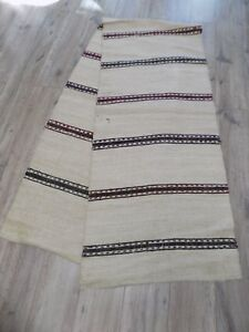 Inventive Antique Rug Runner 2,8x0,59m Hemp Wool Flax 1920s Ukraine Not Used Antiques Linens & Textiles (pre-1930)