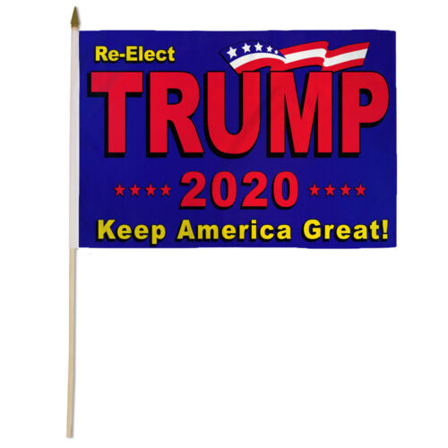 "12x18 12/""x18/"" Lot of 12 Dozen Re-Elect Trump 2020 Keep America Great Wood Stick"