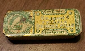 Upjohn-039-s-Friable-Quinine-Pills-2-034-Metal-Tin-with-sliding-top-and-2-round-pills