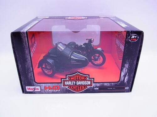 S251 Maisto Harley-Davidson 1948 FL Motorrad mit Beiwagen schwarz 1:18 NEU OVP