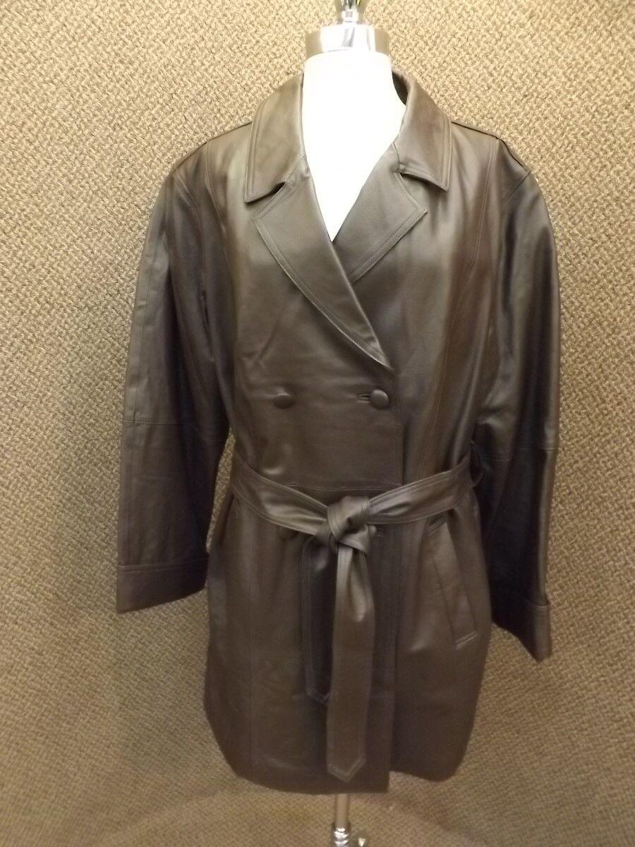 Nuevo NUEVO CON ETIQUETAS  Elegante para Mujer Plus talla 20 W Marrón Cuero Forro De Edrojoón Con Cinturón Gabardina  más orden