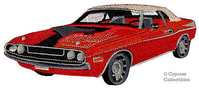 RED MUSCLE CAR iron-on PATCH embroidered CLASSIC AMERICAN AUTOMOBILE applique