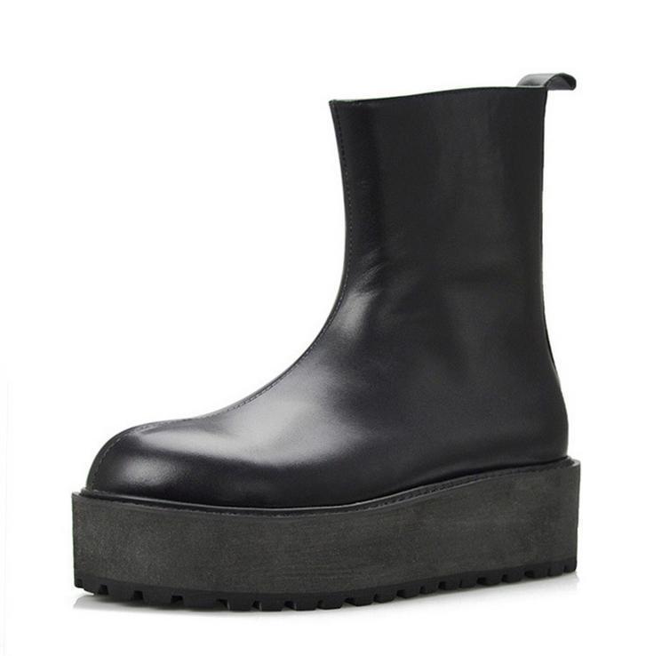 Mens Leather Platform scarpe Oxford Side Zip Zip Zip Formal Dress Fur Lined Ankle stivali 80ac77