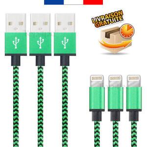 CABLE-POUR-IPHONE-7-6-5-PLUS-IPAD-IPOD-CHARGEUR-USB-METAL-RENFORCE-VERT-1M-2M-3M