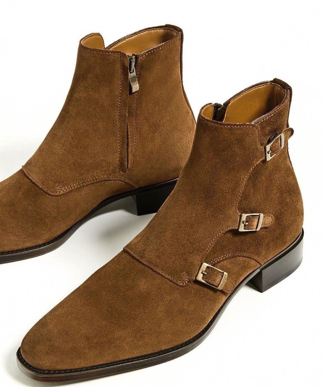 botas para hombres de moda hechas a mano de cuero de gamuza marrón Hebilla De Tobillo botas Altas De Tres