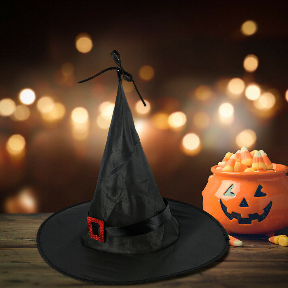 SATINIOR 12 Pieces Halloween Decorations Witch Hat Decor Hanging Decorative Witch Hat with 118.1 Feet Hanging Rope for Halloween Party Supplies Black