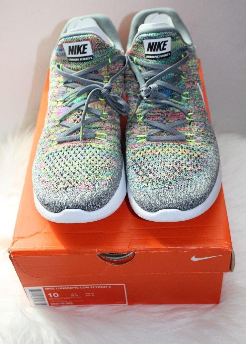 Nike Men's Lunarepic Low Flyknit 2 Cool Grey White-Volt-blueee Glow (863779 003)