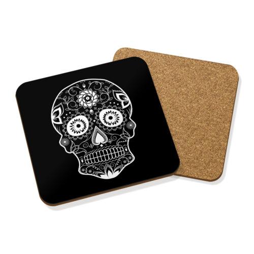 Sucre Blanc Crâne boissons Coaster Mat Liège Square Set X4-Paisley Candy Skull