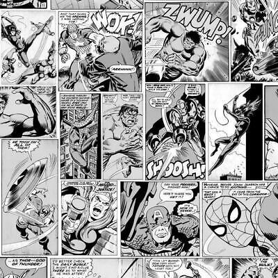Muriva Marvel Comic Strip Wallpaper Black White Hulk Captain