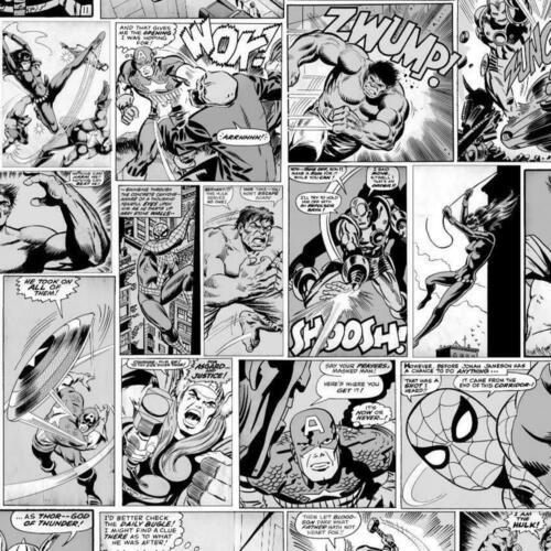 Muriva Marvel Comic Strip Wallpaper Black White Hulk Captain America Spiderman