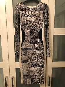 New Karen Millen Sexy Body Form Black White Animal Print Dress Usa 4 Uk 8 Ebay