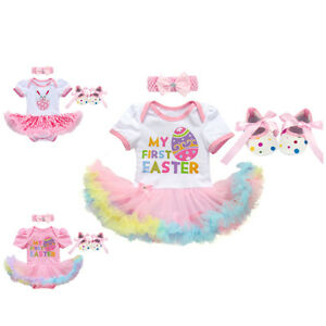 Baby Girl My 1st First Easter Bunny Egg Romper Tutu Dress Costume Outfit Clothes