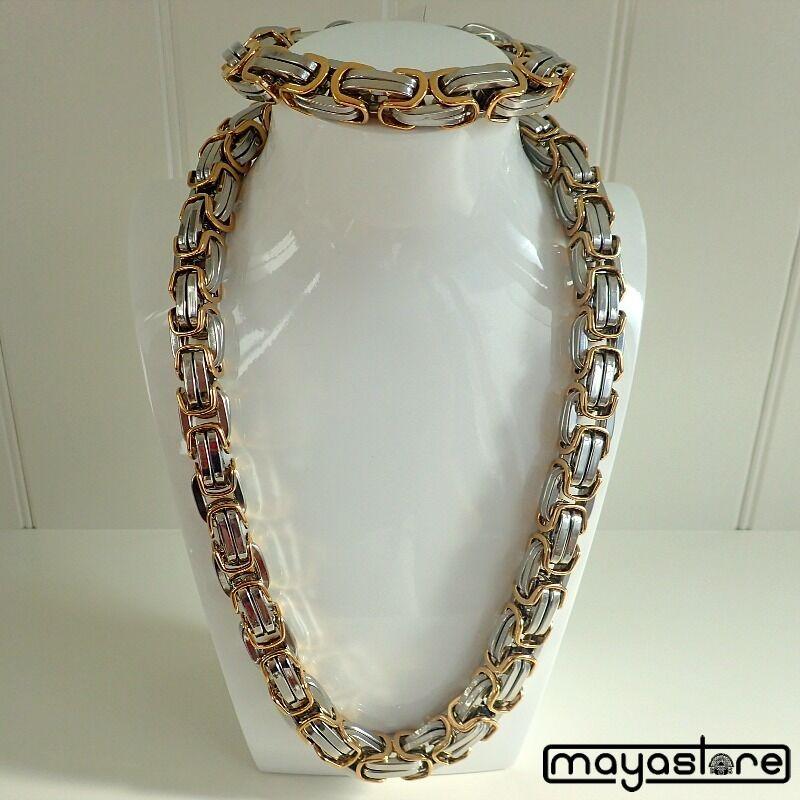 65cm Byzantine Collier + BRACELET XL Chaîne inox or silver