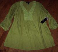 Ali Miles $74 Citron Green Sheer Crochet Flowers Tunic Top 2x Lightweight