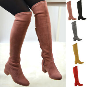 Womens-Knee-High-Boots-Stretch-Calf-Leg-Ladies-Flat-Low-Heel-Zip-Sock-Shoes-Size