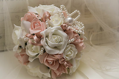 Wedding Flowers Adult Bridesmaid  small brides Bouquet in Vintage Peach &ivory