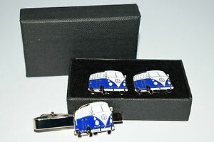 Dark Blue VW Camper Van Cufflinks & Tie Clip Set. Wedding Gift Boxed Enamel NEW