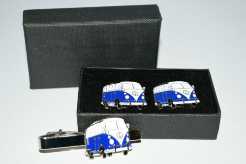 Dark Blue VW Camper Van Cufflinks & Tie Clip Set. Wedding Gift Boxed Enamel NEW