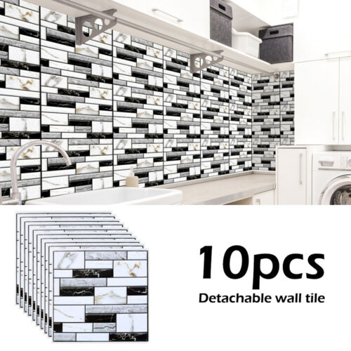 10pcs 3D Wall Tile Stickers Kitchen Bathroom Mosaic Self-adhesive Decor 30x30cm