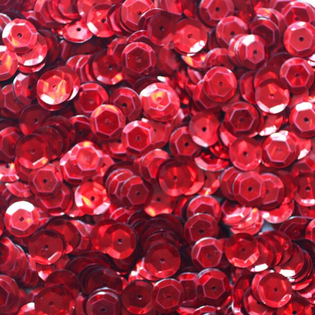 6mm Cup SEQUIN FACET PAILLETTES ~ RED  Metallic ~ Made in USA