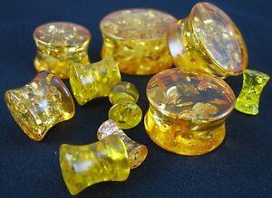 1 Pair Synthetic Amber Solid Saddle Plugs Ear Polished Double Flare Gauges New RafraîChissant Et BéNéFique Pour Les Yeux