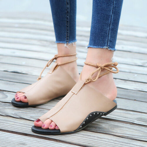 Ladies Womens Flat Lace Up Leg Strappy Gladiator Summer Fashion Sandals Shoes UK