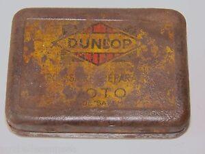 Antique Box Sheet Metal Advertising Dunlop Motorcycle/Auto Tire